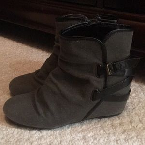 Gray and black strappy wedge booties
